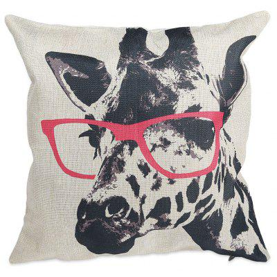 Glasses Giraffe Cotton Linen Pillow Cushion Cover Case