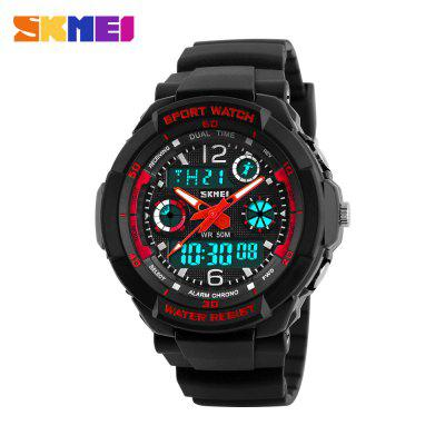Skmei 1060 LED Sports Watch with Double Japan Movts Waterproof Design and Plastic Watch BandSports Watches<br>Skmei 1060 LED Sports Watch with Double Japan Movts Waterproof Design and Plastic Watch Band<br><br>Band material: PU<br>Brand: Skmei<br>Case material: Stainless Steel<br>Clasp type: Pin buckle<br>Display type: Analog-Digital<br>Movement type: Digital watch<br>Package Contents: 1 x Watch<br>Package size (L x W x H): 23.00 x 5.00 x 2.70 cm / 9.06 x 1.97 x 1.06 inches<br>Package weight: 0.0720 kg<br>People: Unisex table<br>Product size (L x W x H): 22.00 x 4.00 x 1.70 cm / 8.66 x 1.57 x 0.67 inches<br>Product weight: 0.0410 kg<br>Shape of the dial: Round<br>Special features: Multi Time Zones, Week, Stopwatch, Calendar, Alarm Clock<br>The band width: 1.7 cm / 0.67 inches<br>The dial diameter: 4.0 cm / 1.57 inches<br>The dial thickness: 1.4 cm / 0.05 inches<br>Watch style: Outdoor Sports, Business, LED<br>Water resistance: 50 meters<br>Wearable length: 15 - 20 cm / 5.91 - 7.87 inches