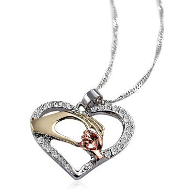 Cuore Pattern Gemme artificiali Holding Hands Necklace Hollow