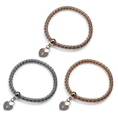3pcs Women Love Heart Pattern Artificial Gems Elastic Bracelets