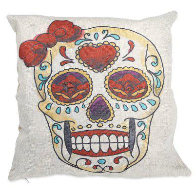 Skull Pattern Cotton Linen Pillow Cover Home Sofa Decor