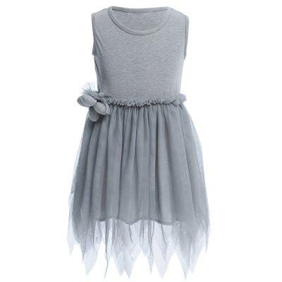 Han Edition Jewel Neck Sleeveless Solid Color Asymmetric Gauze Girls Princess Dress