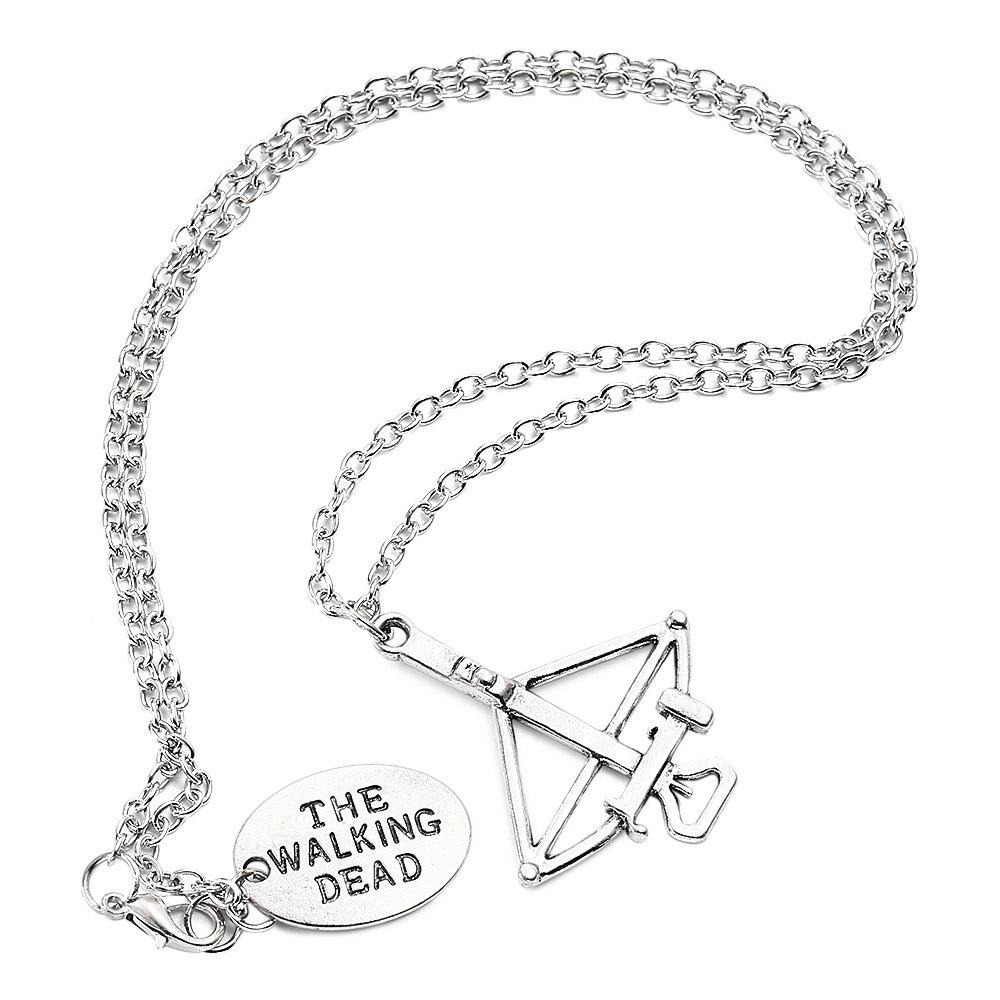 Ladies Oval Round Plate Bow Arrow Necklace