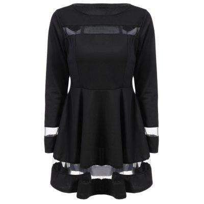 Long Sleeve Round Collar See-through Spliced Dress for Women