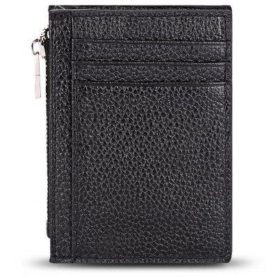 Leather Letter Solid Color Zipper Vertical Mini Wallet
