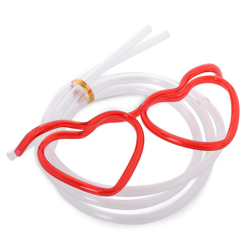 Novelty Heart Shape DIY Drinking Glasses Straw for Party