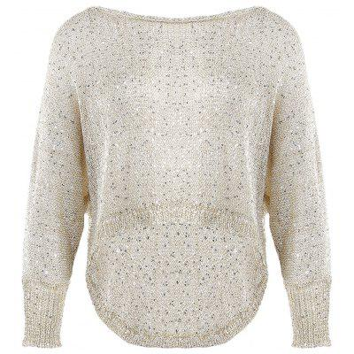Round Collar Bat Wing Sleeve Knitted Asymmetrical Women Sweater