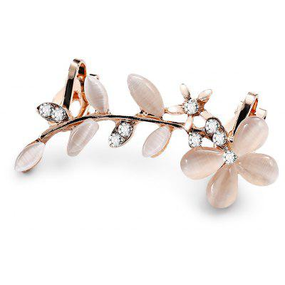 Floral Pattern Leaf Design Rhinestone Ear Cuff Single Earring