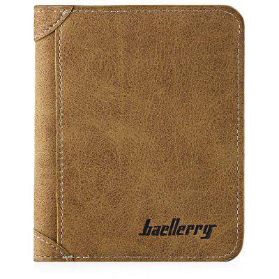 Men Solid Color Letter Embellishment Dull Polish Open Vertical Wallet
