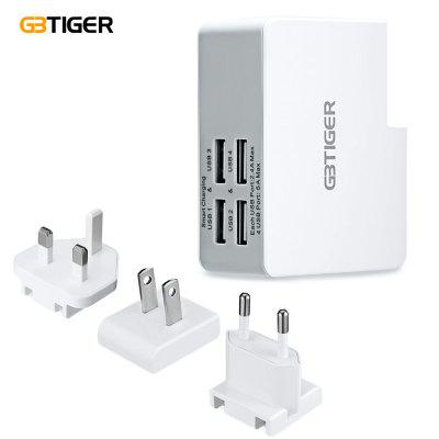 GBTIGER  4 USB 25W5V 5A Travel Quick Charger Adapter EU US UK Plug