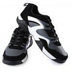 Buy Color Block Lace Men Breathable Shoes 43 WHITE AND BLACK