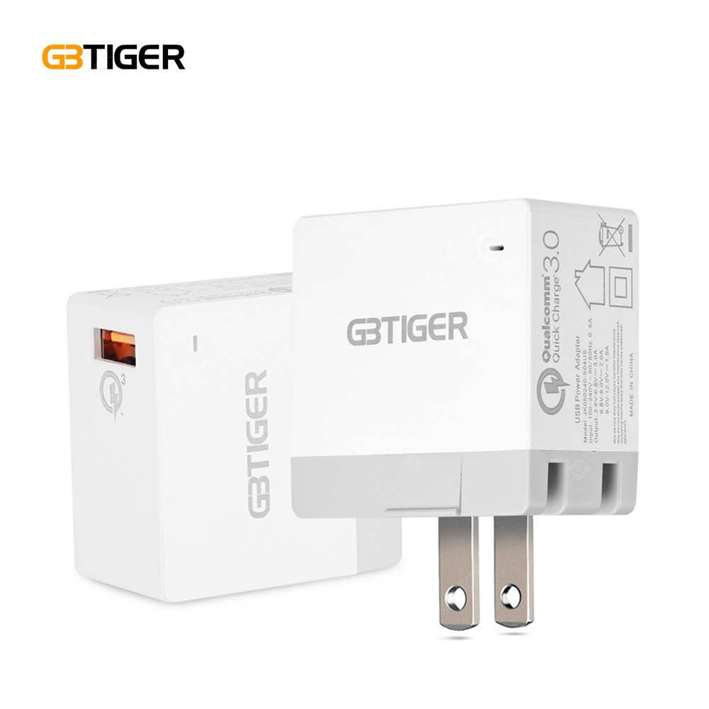 GBTIGER Qualcomm Certification QC 3.0 USB Charger Adapter ALL WHITE