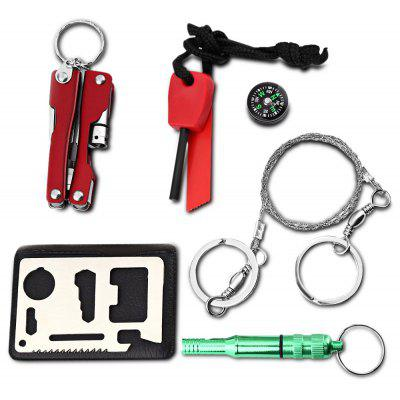Buy RED Portable SOS Emergency Equipment Outdoor Survival Whistle Compass Plier Tool Kit for $7.78 in GearBest store