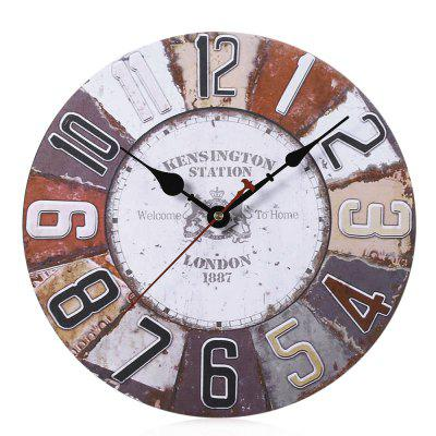 Wooden Wall Clock Digits Retro Style Home Decor