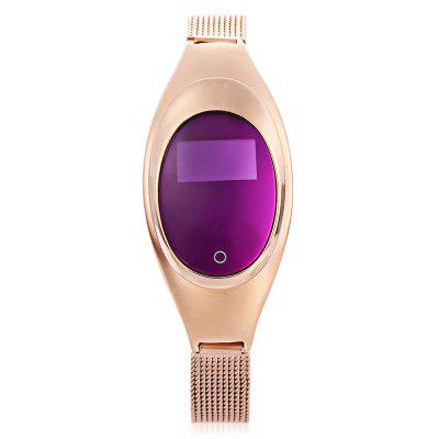 Z18 Women Smart BraceletSmart Watches<br>Z18 Women Smart Bracelet<br><br>Band material: Stainless Steel<br>Battery Capacity: 70mAh<br>Battery Type: Lithium Polymer Battery<br>Bluetooth Version: Bluetooth 4.0<br>Case material: Stainless Steel<br>Compatability: Android 4.4 / iOS 8.0 and above system<br>Compatible OS: Android, IOS<br>Functions: Distance recording, Find your phone, Measurement of heart rate, SMS Reminding, Sleep management, Pedometer, Sedentary reminder, Date, Camera remote control, Calories burned measuring, Call reminder<br>Language: English,French,German,Indonesian,Italian,Japanese,Korean,Portuguese,Russian,Simplified Chinese,Spanish,Traditional Chinese<br>Package Contents: 1 x Smart Bracelet, 1 x English and Chinese User Manual, 1 x Charging Cable<br>Package size (L x W x H): 9.00 x 9.00 x 6.50 cm / 3.54 x 3.54 x 2.56 inches<br>Package weight: 0.1570 kg<br>People: Female table<br>Power: Built-in Battery<br>Product size (L x W x H): 22.50 x 2.50 x 1.20 cm / 8.86 x 0.98 x 0.47 inches<br>Product weight: 0.0420 kg<br>Screen: Yes<br>Screen type: OLED<br>Standby time: about 7 days<br>The band width: 1 cm / 0.39 inches<br>The dial diameter: 2.5 cm / 0.98 inches<br>The dial thickness: 1.2 cm / 0.47 inches<br>Waterproof: Yes<br>Waterproof Rating: IP67