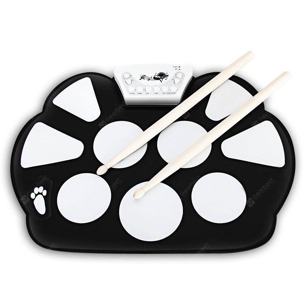 W758M USB Drum Kit PC Desktop Electronic Drum Pad with 2 Sticks Foot Pedals