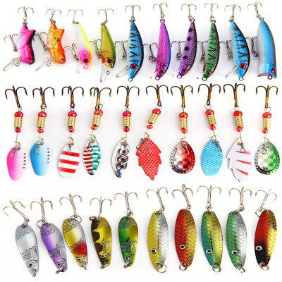 30Pcs Fishing Hard Baits with 2 Metal Hooks