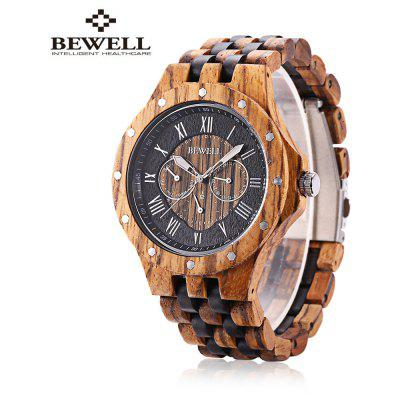BEWELL ZS - W116C Men Wooden Quartz Watch