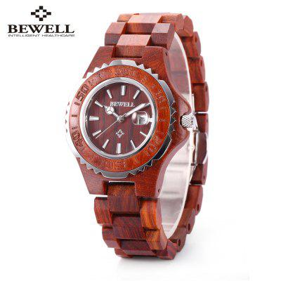 BEWELL ZS-100BL Metal Case Wooden Women Quartz Watch