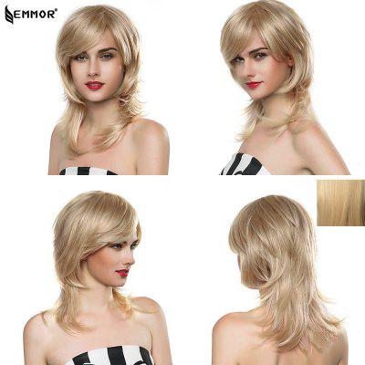 EMMOR Women Long Layered Human Hair Capless Wigs
