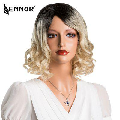 EMMOR Short Bob Wavy Curly Gradient Blonde Capless Full Human Hair Wigs