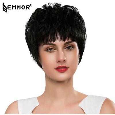 EMMOR Stylish Short Straight Capless Human Hair Wigs with Full Bangs