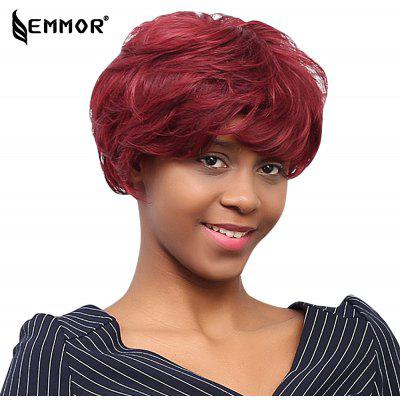 EMMOR Stunning Short Layered Human Hair Wigs with Side Bangs