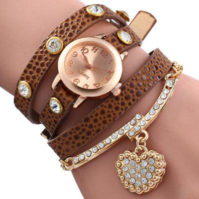 Rhinestone Heart Pendant Women Bracelet Quartz Wrist Watch