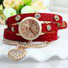 Rhinestone Heart Pendant Women Bracelet Quartz Wrist Watch - ROUGE