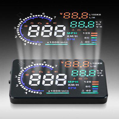 A8 5.5 inch OBD II Car HUD Head Up Display Windscreen Projector with Speed Warning RPM MPH