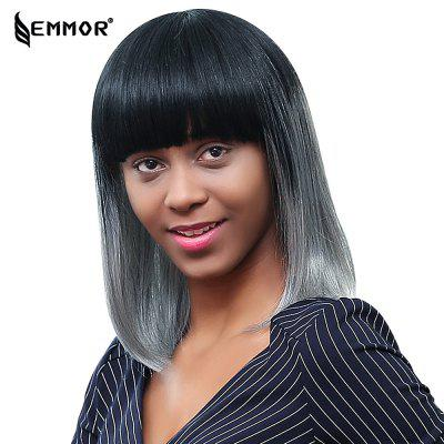 EMMOR Medium Straight Formal Black Gray Bob Human Hair Wig with Bangs