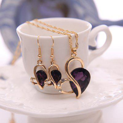 2pcs Alloy Water Drop Necklace Earrings Bridal Jewelry Set
