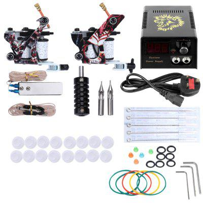 Complete Tattoo Kit Needles 2 Machine Gun Power Supply