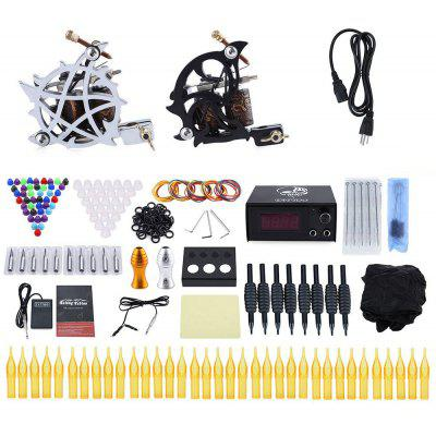 Solong Tattoo Kit Carbon Steel 10 Wrap Coils 2 Machine Gun