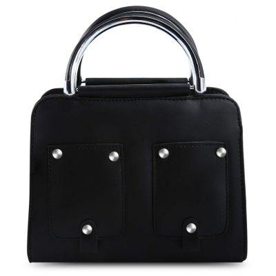 Guapabien PU Leather Rivet Pocket Style Tote Pipe Handle Shoulder Bag for Women