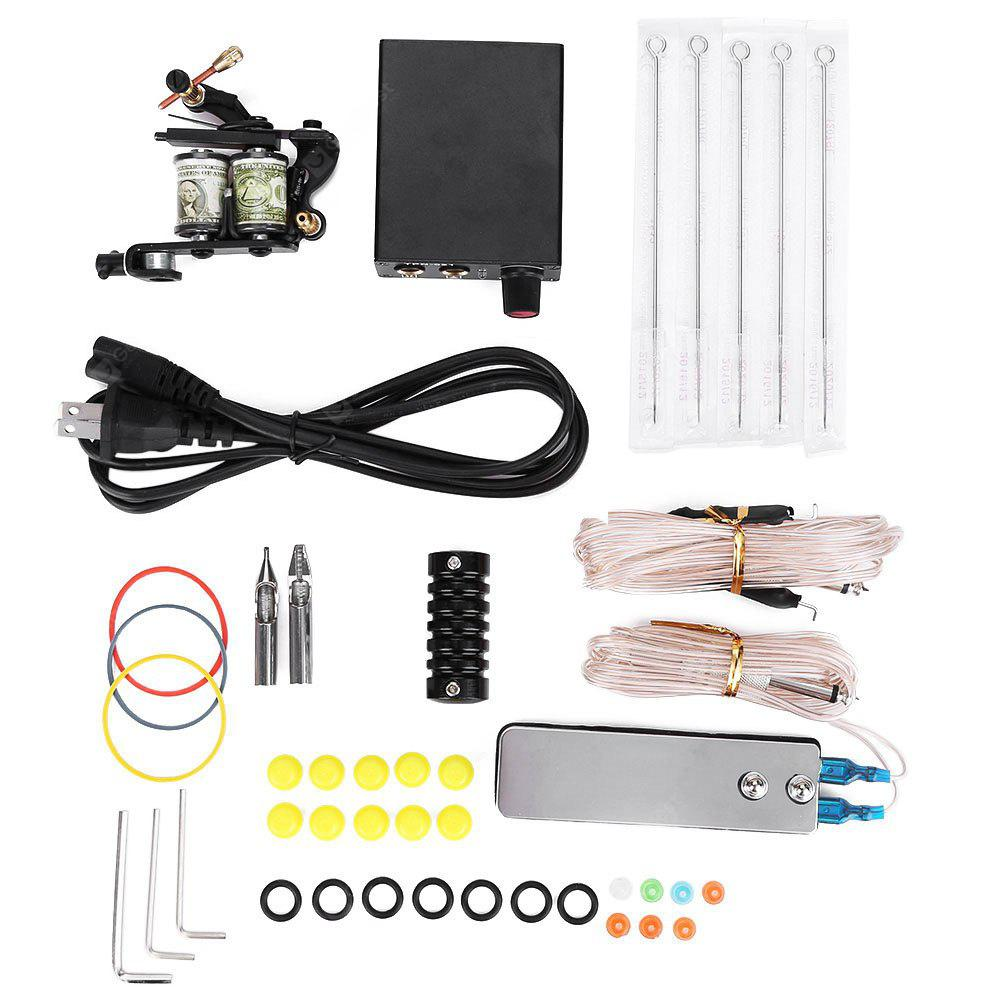 PX110001 Complete Tattoo Kit Machine Needles Power Supply Gun Set