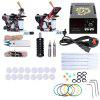 Complete Tattoo Kit Needles 2 Machine Gun Power Supply - COLORMIX