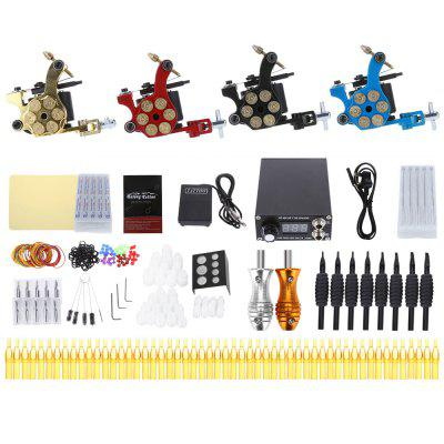 Solong Tattoo Kit 4 Machine Gun Needle Tip Power Supply