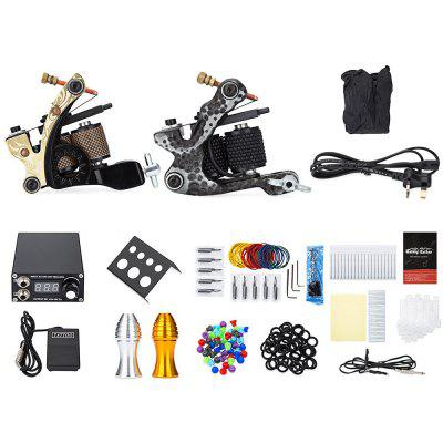Solong Tattoo Kit Carbon Steel 12 Wrap Coils Machine Gun