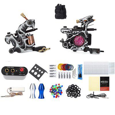 Solong Tattoo Kit 2 Carbon Steel 10 Wrap Coils Machine Guns