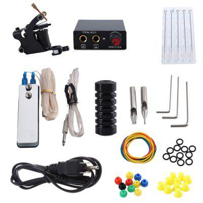 Tattoo Machine Kit 8 Wrap Coils Gun Power Supply Needles