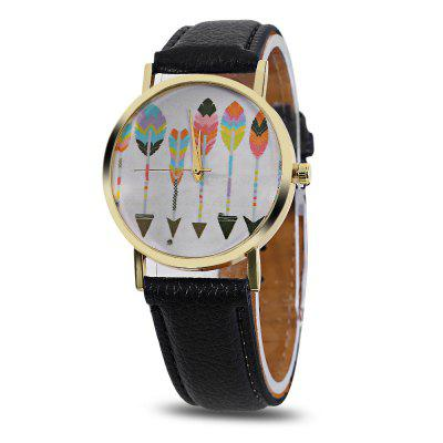 Female Plumage Pattern Dial Quartz Watch