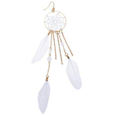 Ladies Mesh Alloy Feather Earrings