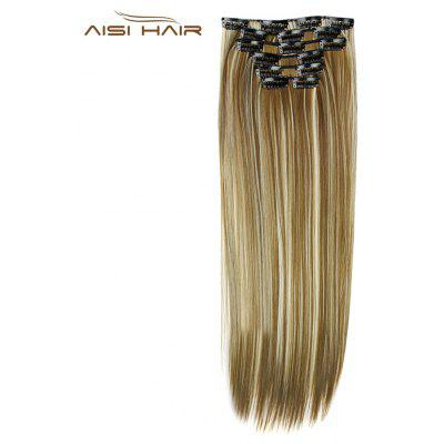 AISI HAIR 16 Clips Straight Long High Temperature Resistant Hair Extensions for Women