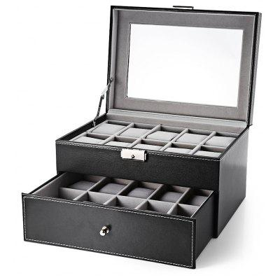 20 Grids Drawer-style PU Watch Display Box Jewelry Storage Organizer