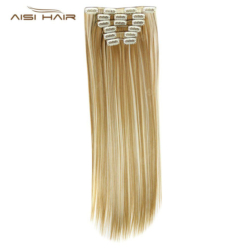 AISI HAIR Straight Long 16 Clips Hair Extensions for Women