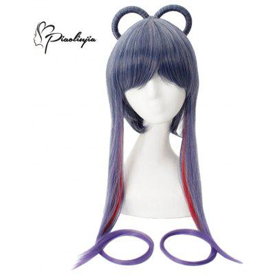 Piaoliujia Long Full Bangs Mixed Colors Gradient Blue Purple Cosplay Wigs for VOCALOID3 Luo Tianyi Figure