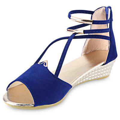 Buy Open Toe Cross Strap Zipper Design Ladies Wedge Heel Sandals BLUE 37 for $16.95 in GearBest store