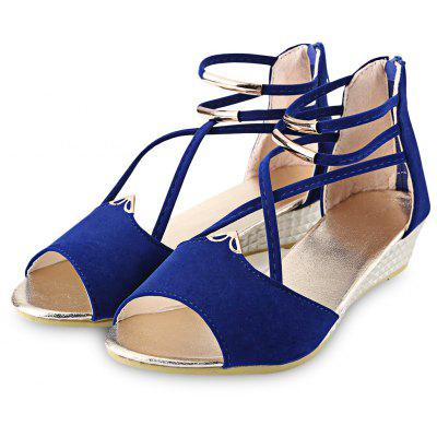 Open Toe Cross Strap Zipper Design Ladies Wedge Heel SandalsWomens Sandals<br>Open Toe Cross Strap Zipper Design Ladies Wedge Heel Sandals<br><br>Available Color: Red, Blue, Black, Off-White<br>Available Size: 35, 36, 37, 38, 39, 40<br>Closure Type: Zip<br>Embellishment: Metal<br>Gender: For Women<br>Heel Type: Wedge Heel<br>Occasion: Casual<br>Outsole Material: Rubber<br>Package Content: 1 x Pair of Women Wedge Heel Sandals<br>Pattern Type: Solid<br>Sandals Style: Ankle Strap<br>Shoe Width: Medium(B/M)<br>Style: Sexy<br>Upper Material: Suede<br>Weight: 0.4840kg
