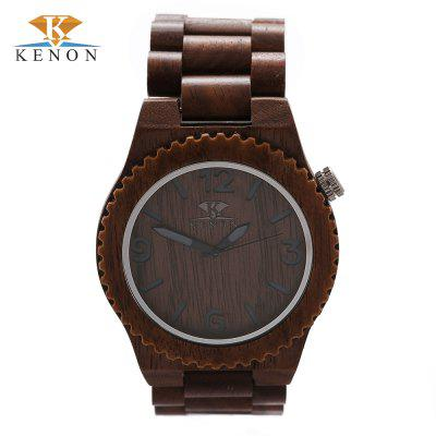 K KENON Wooden Case Quartz Male Watch
